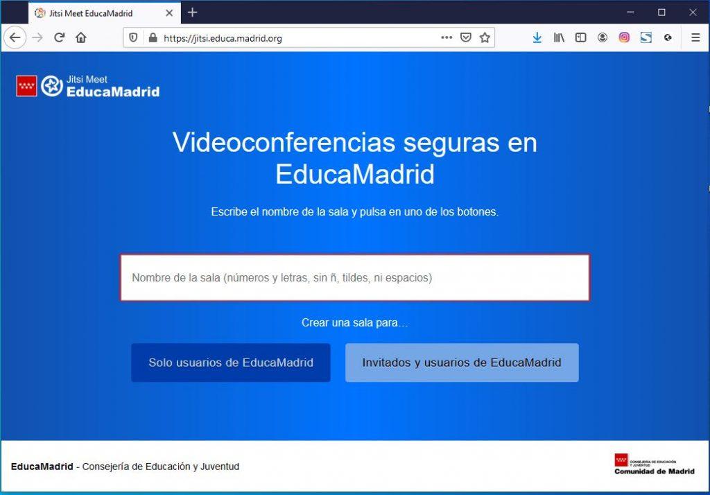 Personalización de Jitsi Meet de la Comunidad de Madrid